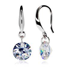 Round Silver Drop Earrings 0.9cm CZ Cubic Zirconia - CRYSTALA