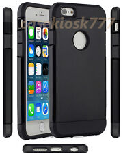 for iphone 6 4.7 inch dual layer hybrid soft hard glassy case cover black