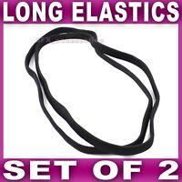 2x BLACK LONG ELASTIC endless head headband hair band gym running elastics set