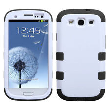 For Samsung Galaxy S III 3 Rubber IMPACT TUFF HYBRID Case Cover White Black