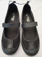 NEW Danskin Now Black Mesh/Faux Leather Slip on Mary Jane Flat Shoes Womens 6