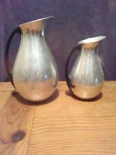 """VINTAGE ALUMINUM PITCHER AND CREAMER SPAIN 8"""" AND 6 1/4"""""""