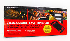 """BRINKMANN Universal Replacement 6"""" Adjustable, Cast Iron Grate BBQ Grill Cooking"""