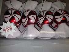 Set of 8 Christmas Holiday Peppermint Candy Shatterproof Ornaments