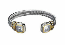 Twist Silver Toned Rhodium Plated Bracelet With Square Clear CZ