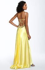 NWOT Sean Collection Tie Back Beaded Satin Gown $288 `Banana` Size  Medium
