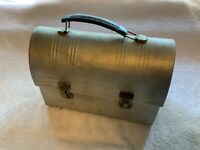 Vintage 1950s Domed Dimpled Aluminum Lunchbox Non-Rust Silver Lunchpail Workers
