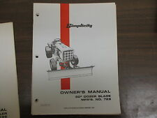 "Simplicity 60"" dozer blade owners & maintenance manual Model# 728"