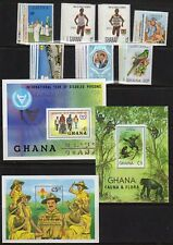 GHANA STAMP COLLECTION — (7) SETS + (10) S/S + BOOKLET — 1981 MINT