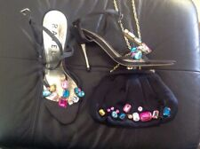 RAVEL MATCHING JEWEL STRAPPY SHOES AND BAG SIZE 6 WEDDING/CRUISE