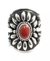 Native American Sterling Silver Navajo Handmade Natural Coral Ring Sz 6.5