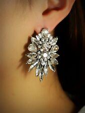 Boucles d'Oreilles Clous Puces Argenté Gros Floral Art Deco Cristal Mariage NN5