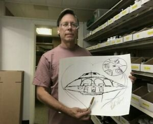 """Bob Lazar Signed UFO """"Sport Model"""" Sketch Area 51 Autograph SOLD OUT- IN HAND!"""