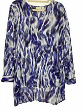 Chicos Watercolor Long Sleeve Chiffon VNeck Blouse Blue Purple White Top Tunic 2