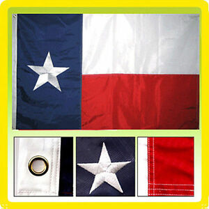 6x10 ft Embroidered Sewn Texas Nylon Flag 6'x10' Grommets Clips