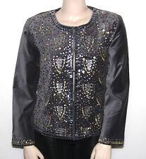 NEW DG2 By Diane Gilma SIZE Medium Sequined & Beaded Embellished Velvet Jacket