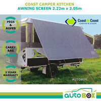 Kitchen Awning 2.2m Privacy Sun Screen Cover Shade Caravan Motorhome Camping Out