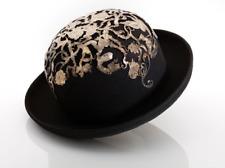 Atelier Negro Mujer Sombrero bombín de fieltro láser Grabado Latón  ornamentación 0b30470ceee