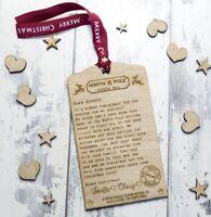 Personalised Santa Letter Christmas Tree Ornament Wooden Custom Gift Childrens