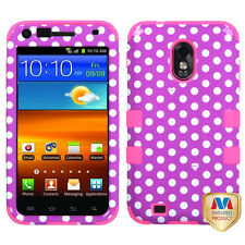 For US Cellular Samsung Galaxy S II IMPACT TUFF HYBRID Case Purple Dots Pink