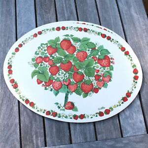 Vintage Set of 4  Vinyl Placemats Mid Century Strawberry Oval Stotter