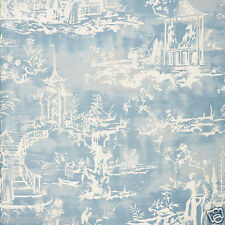 SCALAMANDRE CHINOISERIE PAGODA PALACE TOILE LINEN FABRIC 10 YARDS SKY BLUE