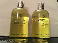 Molton Brown 2 x 300ml Cardamom & Cedarwood Bath & Shower Gel NEW *LOOK*