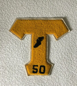 "Vintage Varsity Lettermans Chenille Patch Letter ""T"" 1950 Track Gold & Black"