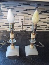 Rare Vtg Mid Century Art Deco Hollywood Regency 50's crystal table lamps~Pair***