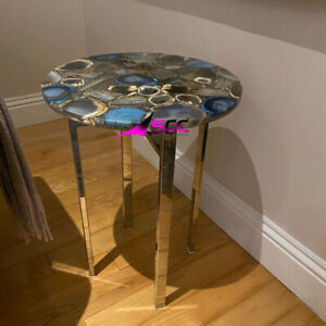 Natural Agate Table , Agate Table, Agate Stone Table, Round Agate