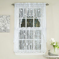 Knit Lace Bird Motif Kitchen Window Curtain Tiers, Swags or Valance White