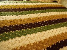 "Vtg Crocheted Afghan Lacey Stitch Brown Tan Green Cream BOHO Retro Chic 64""x88"""