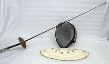 Vintage Castello Fencing Metal Mesh Face Mask, Neck Guard And Foil Sword