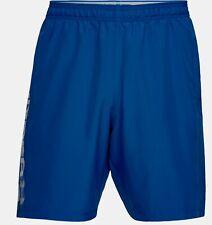 Under Armour Woven Graphic Wordmark Men Training Short Size L Two Pockets Blue