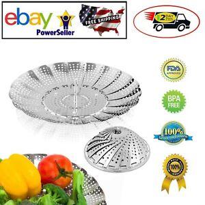 Vegetable Food Steamer Basket Folding Steaming Cooking Metal Stainless Steel