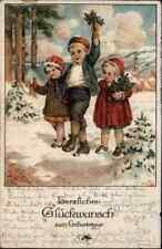 GEBURTSTAG Birthday ~1929 Gruss-AK color Postkarte mit gratulierenden Kindern