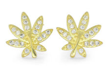 Weed Leaf Studs 14k Gold Plated Iced Out Cz Bling Screw Back Hip Hop Earrings