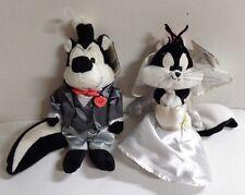Warner Bros Studio Store Pepe Le Pew Groom & Penelope Bride Bean Bag Plush Tags