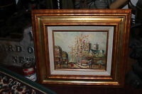 Superb Oil Painting On Canvas-Impressionist-Couples In City-Church Trees-Signed