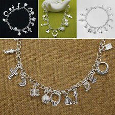 Women Fashion Jewelry Silver Plated 13 Charm Chain Bracelet  US SELLER 10-2