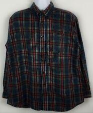 LL Bean Flannel Shirt Mens Size Sz L Long Sleeve Button Front 100% Cotton Plaid