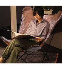 Butterfly Chair  Home Decor Sitting Leatherchair Brown Leather ARM Chair/Leather