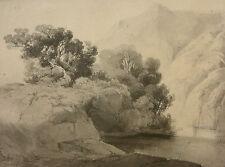 JULIUS BAKOF, FEDERZEICHNUNG, GEBIRGSLANDSCHAFT, GEBIRGSSEE, SIGNIERT ~1845/55