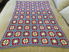 Handmade Afghan Throw Blanket - Designer Collection - Grey, Red & Yellow Squares