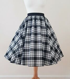 1950s Circle Skirt Black White Tartan Check All Sizes - Rockabilly Plaid MENZIES