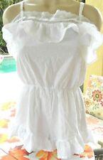 Victorias Secret S white cotton swiss dot romper short nightie cover up ruffled