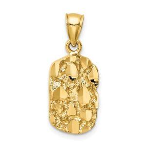 Mens 14K Yellow Gold Nugget Pendant
