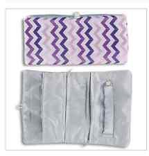 Jewelry Roll Holder Travel Purple Gray Chevron NWT Soft & Protective Zipper