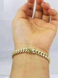 """REAL 10k Gold Miami Cuban Bracelet 7"""" 6mm 10 kt Yellow Gold Strong Links LADIES"""