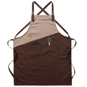 Unisex Adjustable Halter Kitchen Apron Pocket Bib Apron Water Restaurant Uniform